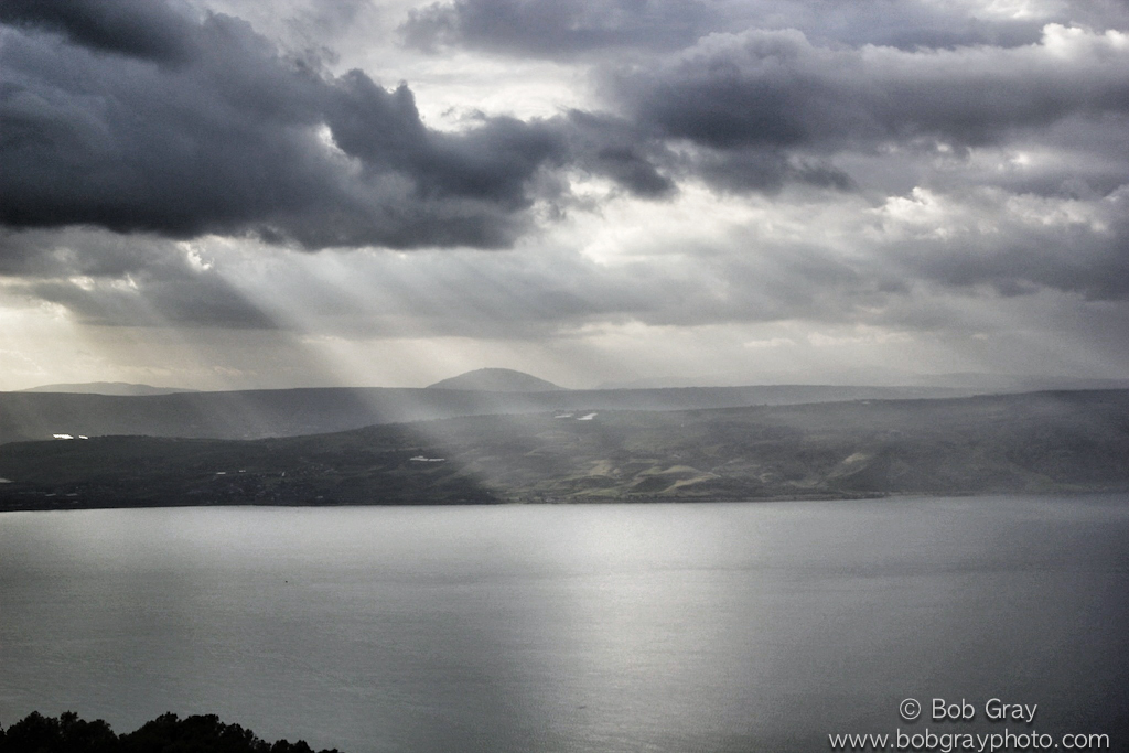 Sunbeams on the Sea of Galilee from the Golan Heights 2