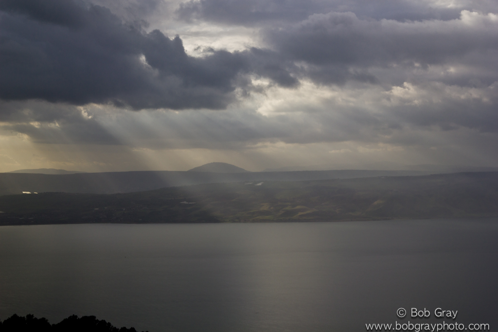 Sunbeams on the Sea of Galilee from Golan Heights 1