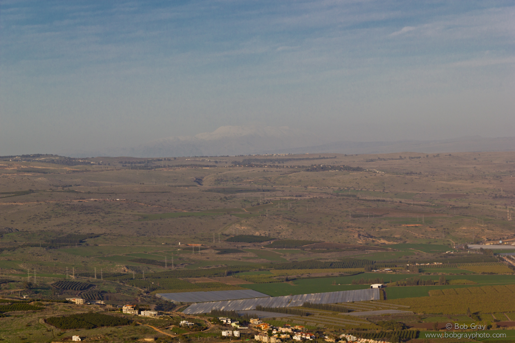 Snow on Mt. Hermon from Arbel Cliffs