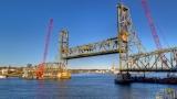 Bridge, cranes, moon - before the float-out