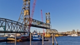 Bridge, cranes, tugs - before the float-out.